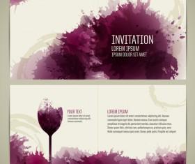 Watercolor style wine invitation card vectors 01