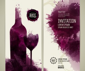 Watercolor style wine invitation card vectors 02