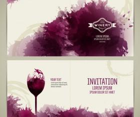 Watercolor style wine invitation card vectors 03