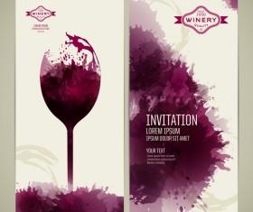 Watercolor style wine invitation card vectors 04