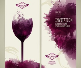 Watercolor style wine invitation card vectors 05