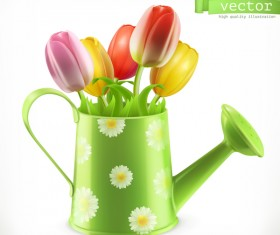 Watering can and bouquet of tulips spring flowers vector
