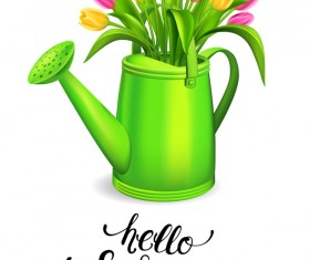 Watering with tulips and white background vector 02