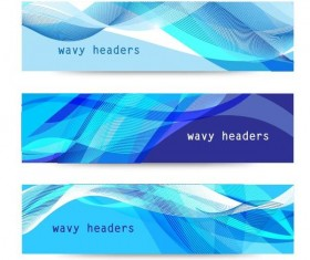 Wave headers banners vector