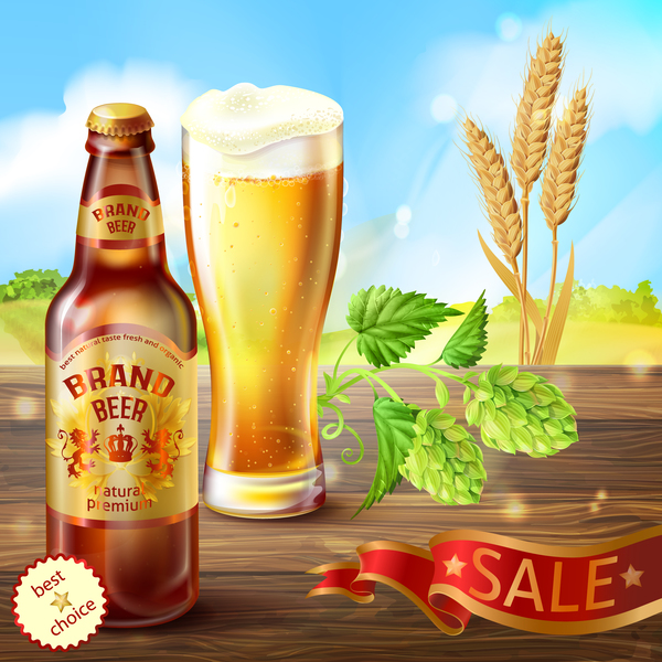 Wheat beer poster vectors