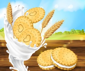 Wheat cookies poster vector template
