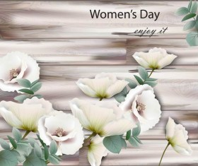 White flower with mothers day wooden background vector
