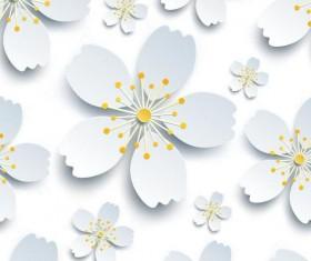White paper flower seamless pattern vector