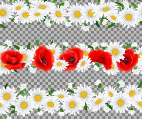 White with red flower border vector