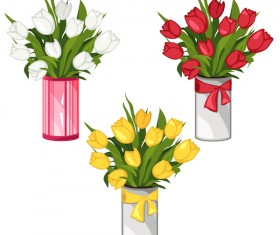 White with yellow and red bouquet tulips vector