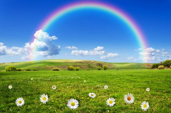 Wilderness beautiful rainbow Stock Photo 02