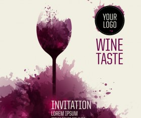 Wine background with watercolor vector