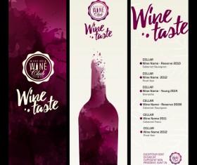 Wine menu watecolor styles template vector 01