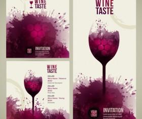 Wine menu watecolor styles template vector 02