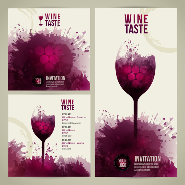Wine menu watecolor styles template vector 02 free download