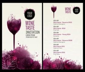 Wine menu watecolor styles template vector 03