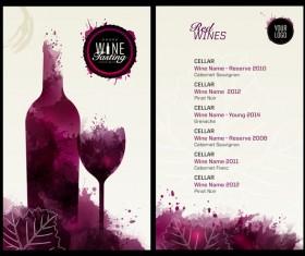 Wine menu watecolor styles template vector 05