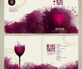 Wine menu watecolor styles template vector 06