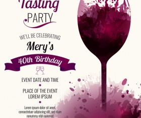 Wine party poster watercolor template vector