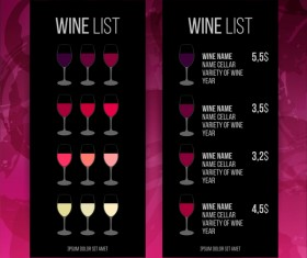Wine red circles price list template vector