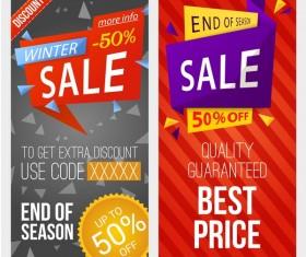 Winter sale discount banners vector