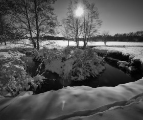 Winter snowy lake black and white photo Stock Photo