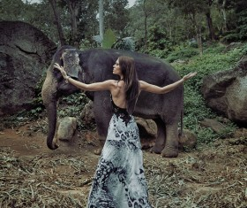 Woman and elephant live in harmony Stock Photo 02