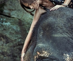 Woman and elephant live in harmony Stock Photo 06