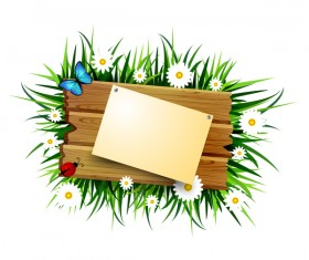Wood sign with paper and flower vector 02