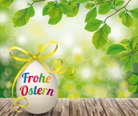 Wooden Ground with Easter Eggs vector background 05