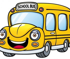 Yellow cartoon school bus vector