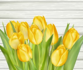 Yellow tulips with wooden background vector