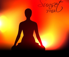 Yoga silhouette with sunset background vector 01