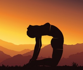 Yoga silhouette with sunset background vector 02