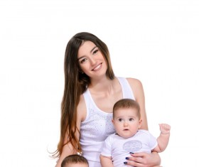 Young beautiful mother and two children Stock Photo 07