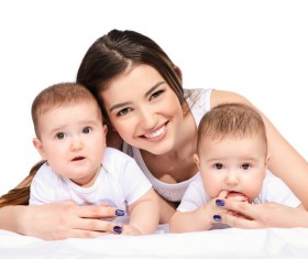 Young beautiful mother and two children Stock Photo 08