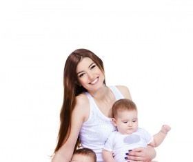 Young beautiful mother and two children Stock Photo 09