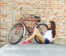 Young girl with bicycle Stock Photo 01