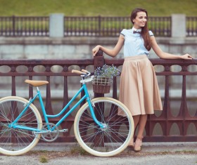 Young girl with bicycle Stock Photo 04