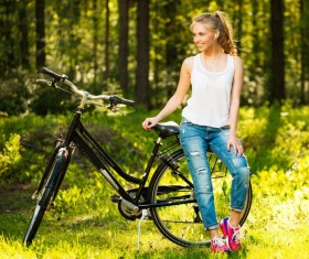 Young girl with bicycle Stock Photo 05