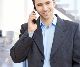 Young man calling Stock Photo