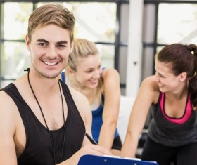 Young people working out in the gym Stock Photo 07