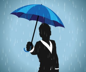 blue umbrella with paper silhouetter vector