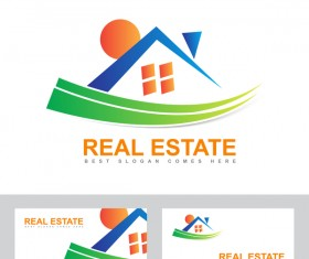 colored real estate logo vector