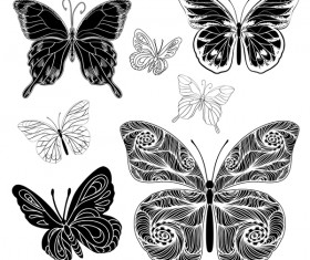 drawings silhouettes butterflies vector