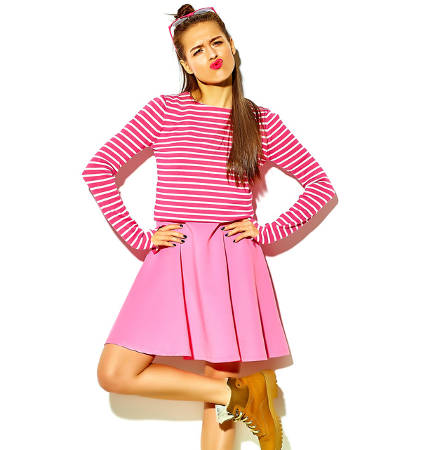 funny expressions girl in pink dress Stock Photo free download - photo#23