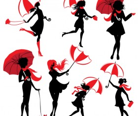 girl silhouette with umbrella vector