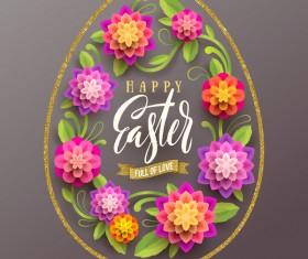 golden easter egg lines with paper flower vector