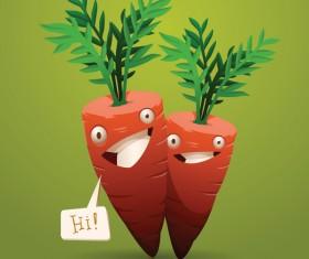 happy cartoon carrots vector