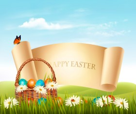 holiday easter background with paper banner vector 01